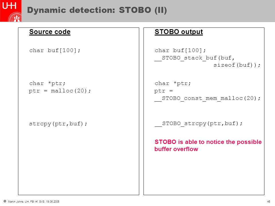  Martin Johns, UH, FB Inf, SVS, 19.06.200545 Dynamic detection: STOBO (II) Source code char buf[100]; char *ptr; ptr = malloc(20); strcpy(ptr,buf); STOBO output char buf[100]; __STOBO_stack_buf(buf, sizeof(buf)); char *ptr; ptr = __STOBO_const_mem_malloc(20); __STOBO_strcpy(ptr,buf); STOBO is able to notice the possible buffer overflow