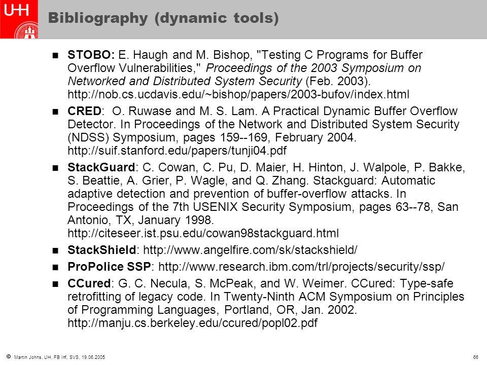  Martin Johns, UH, FB Inf, SVS, 19.06.200566 Bibliography (dynamic tools) STOBO: E.
