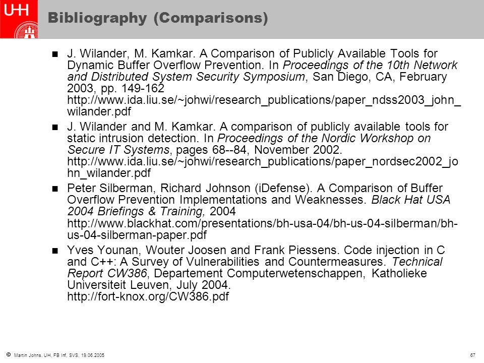  Martin Johns, UH, FB Inf, SVS, 19.06.200567 Bibliography (Comparisons) J.