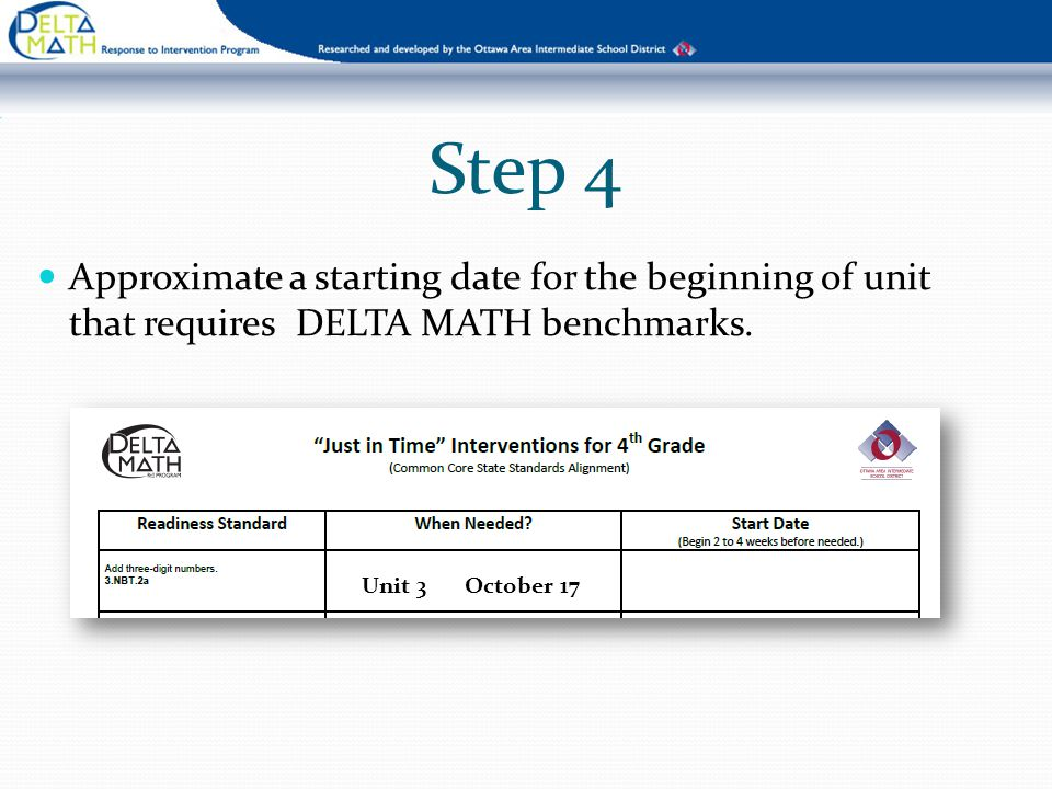 Step 4 Approximate a starting date for the beginning of unit that requires DELTA MATH benchmarks.