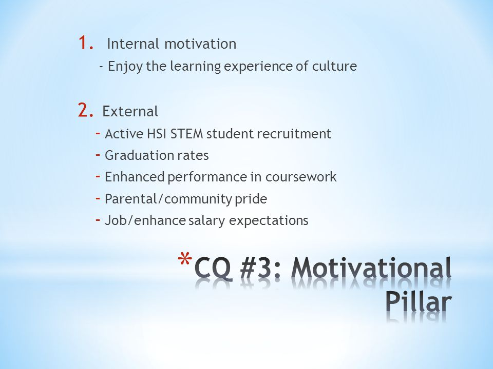 1. Internal motivation - Enjoy the learning experience of culture 2.