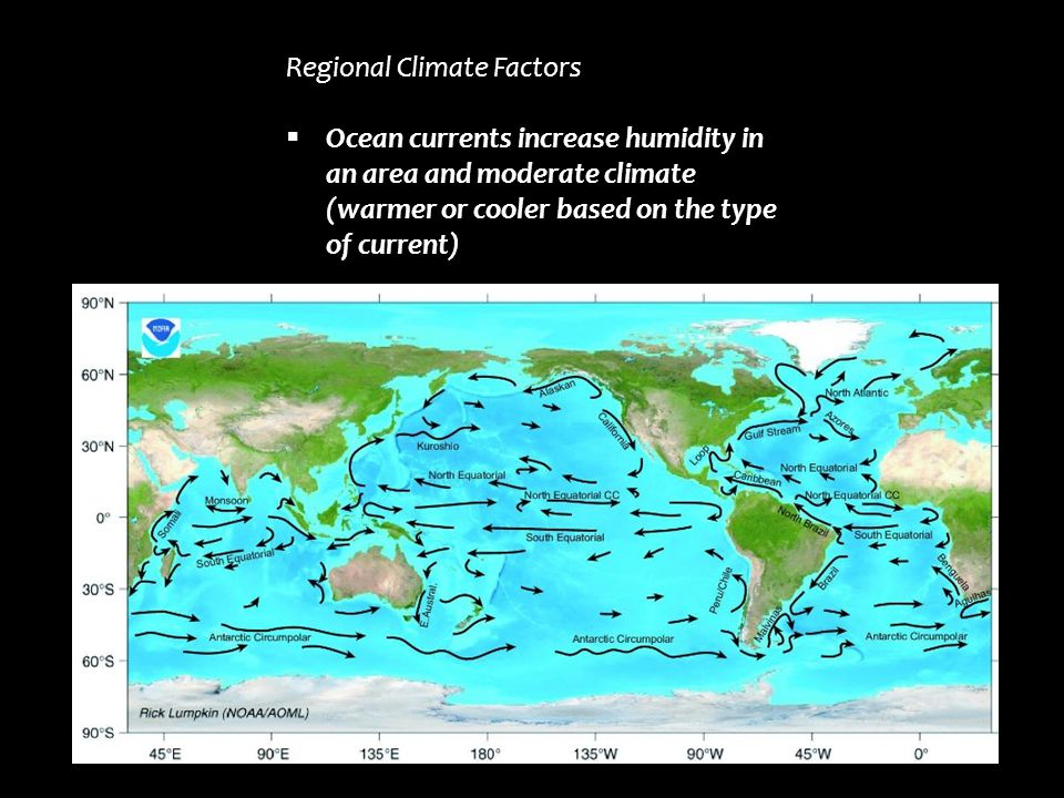 Regional Climate Factors  Ocean currents increase humidity in an area and moderate climate (warmer or cooler based on the type of current)