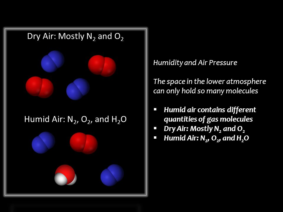 Humidity and Air Pressure The space in the lower atmosphere can only hold so many molecules  Humid air contains different quantities of gas molecules