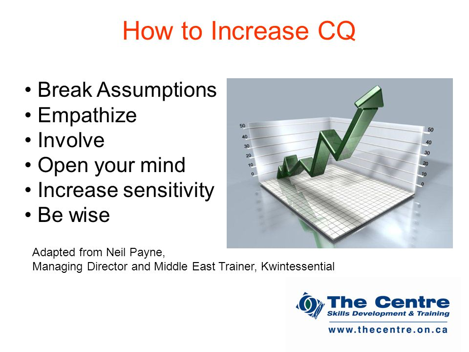 How to Increase CQ Break Assumptions Empathize Involve Open your mind Increase sensitivity Be wise Adapted from Neil Payne, Managing Director and Middle East Trainer, Kwintessential