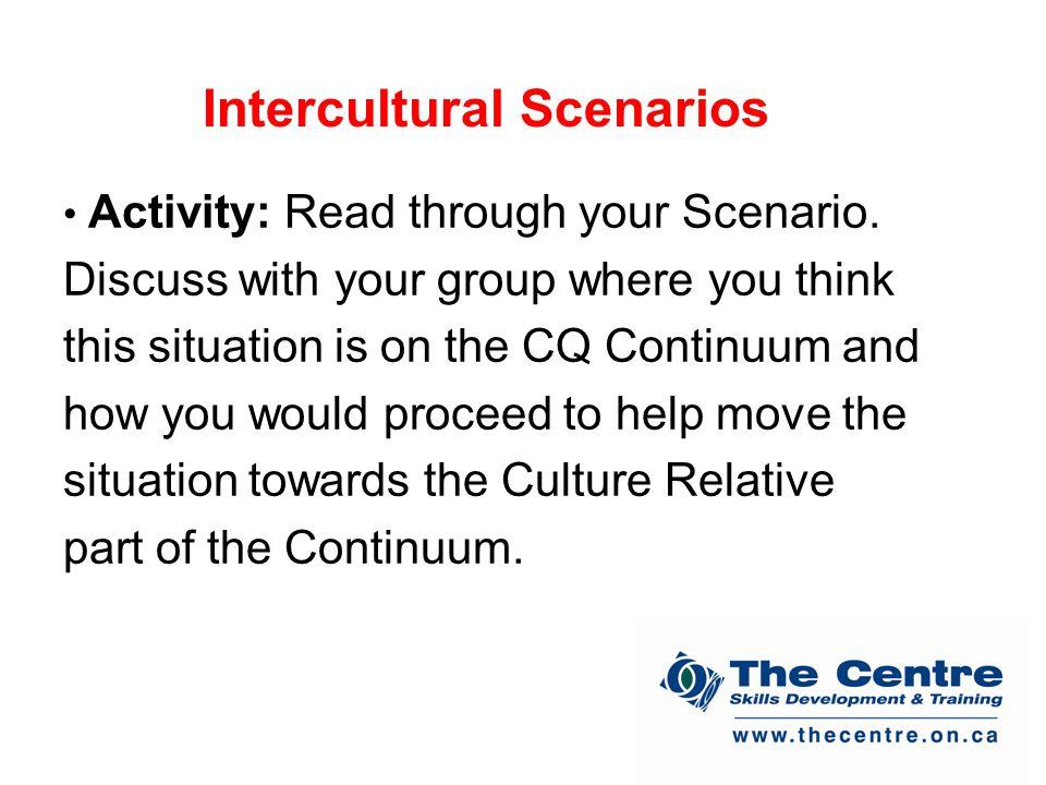 Intercultural Scenarios Activity: Read through your Scenario.