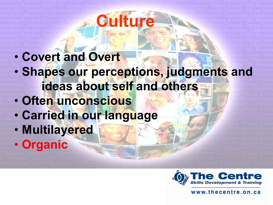 Covert and Overt Shapes our perceptions, judgments and ideas about self and others Often unconscious Carried in our language Multilayered Organic Culture