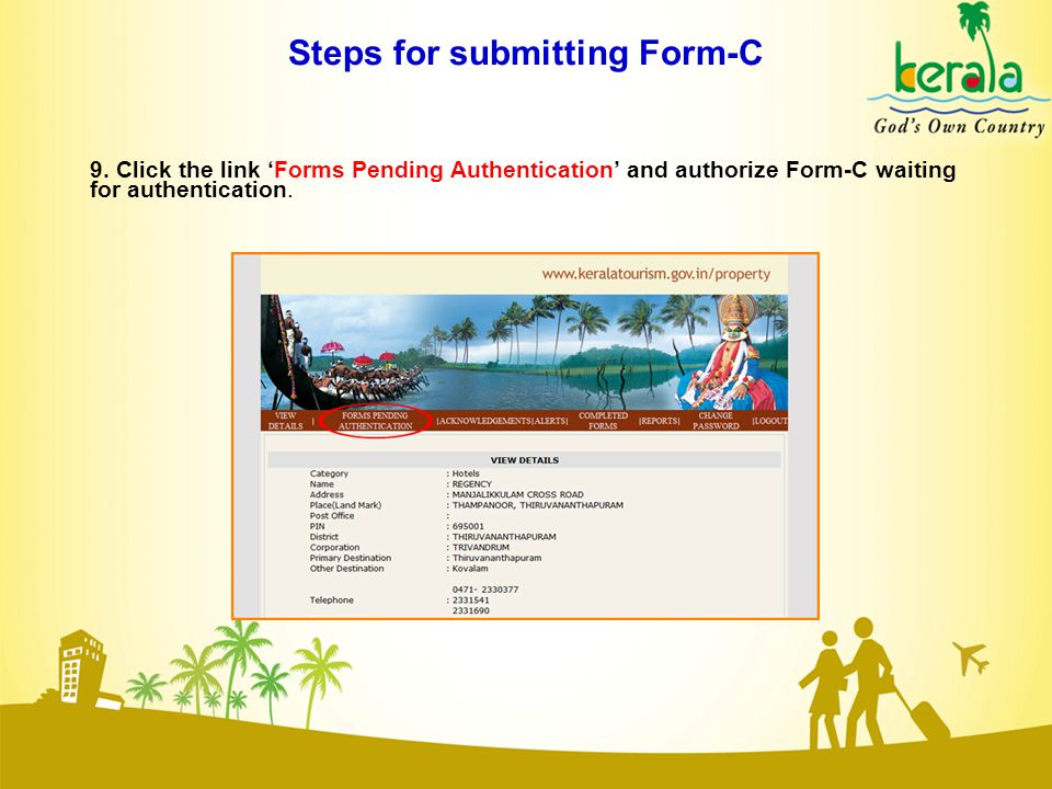 Steps for submitting Form-C 9.