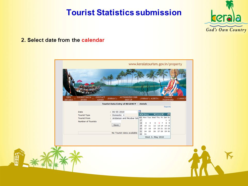 Tourist Statistics submission 2. Select date from the calendar