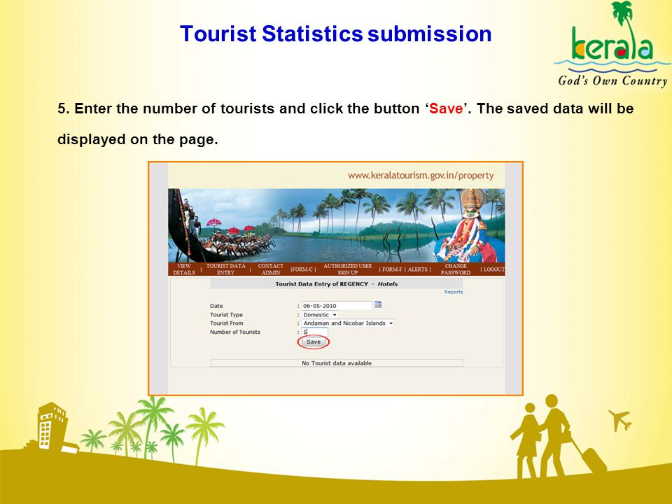 Tourist Statistics submission 5. Enter the number of tourists and click the button 'Save'.
