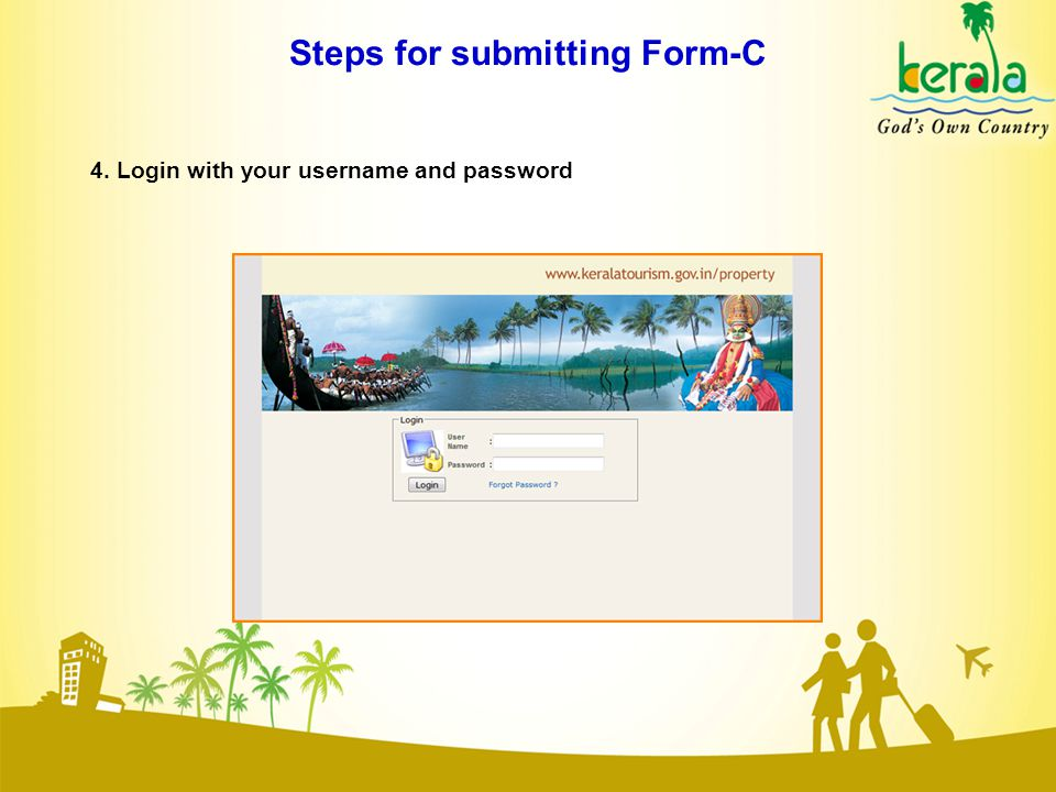 Steps for submitting Form-C 4. Login with your username and password