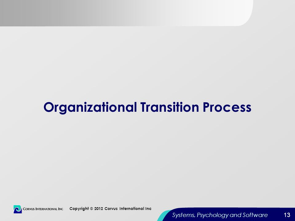 13 Copyright © 2012 Corvus International Inc Systems, Psychology and Software Organizational Transition Process 13