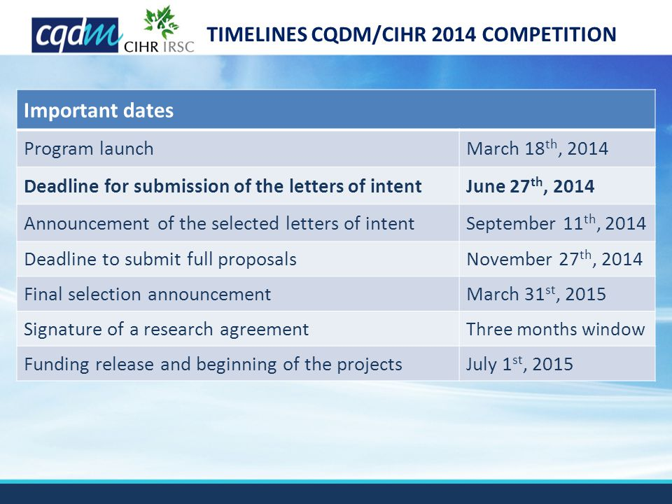 TIMELINES CQDM/CIHR 2014 COMPETITION Important dates Program launchMarch 18 th, 2014 Deadline for submission of the letters of intentJune 27 th, 2014