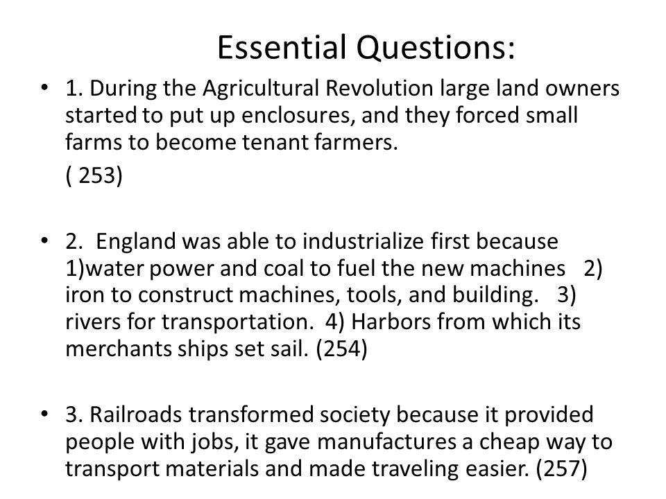 4.People migrated from rural areas to urban areas during the Industrial Revolution 1.