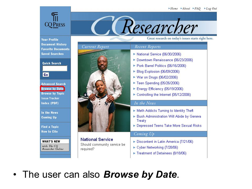 The user can also Browse by Date.