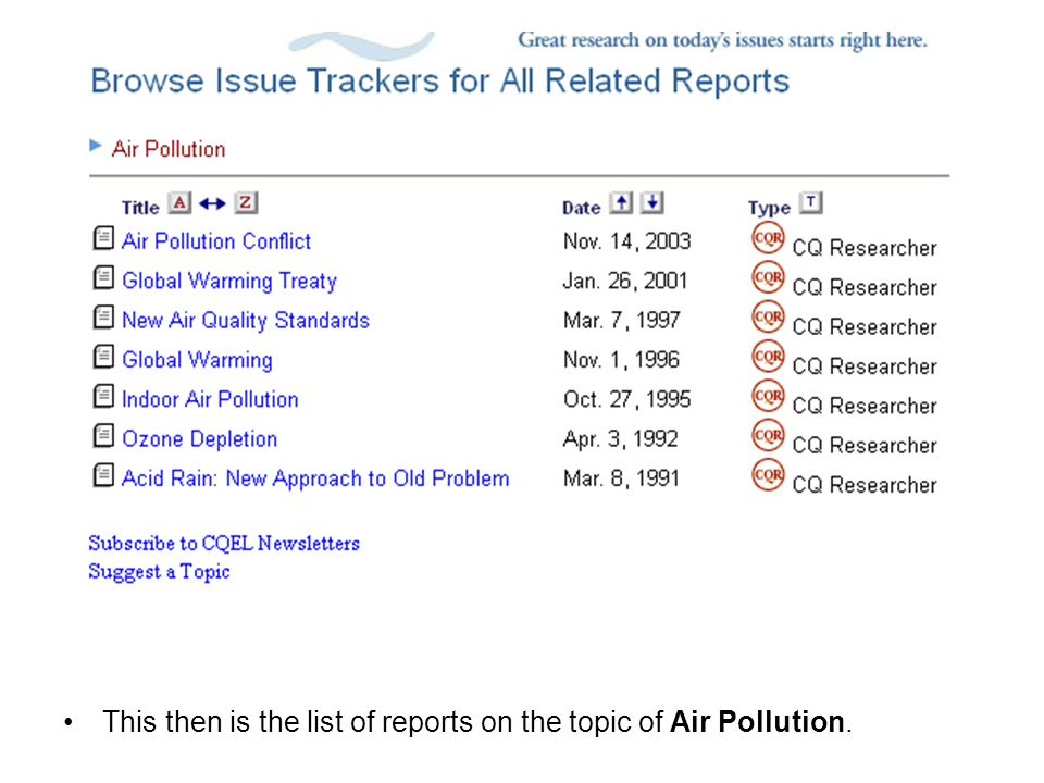 This then is the list of reports on the topic of Air Pollution.