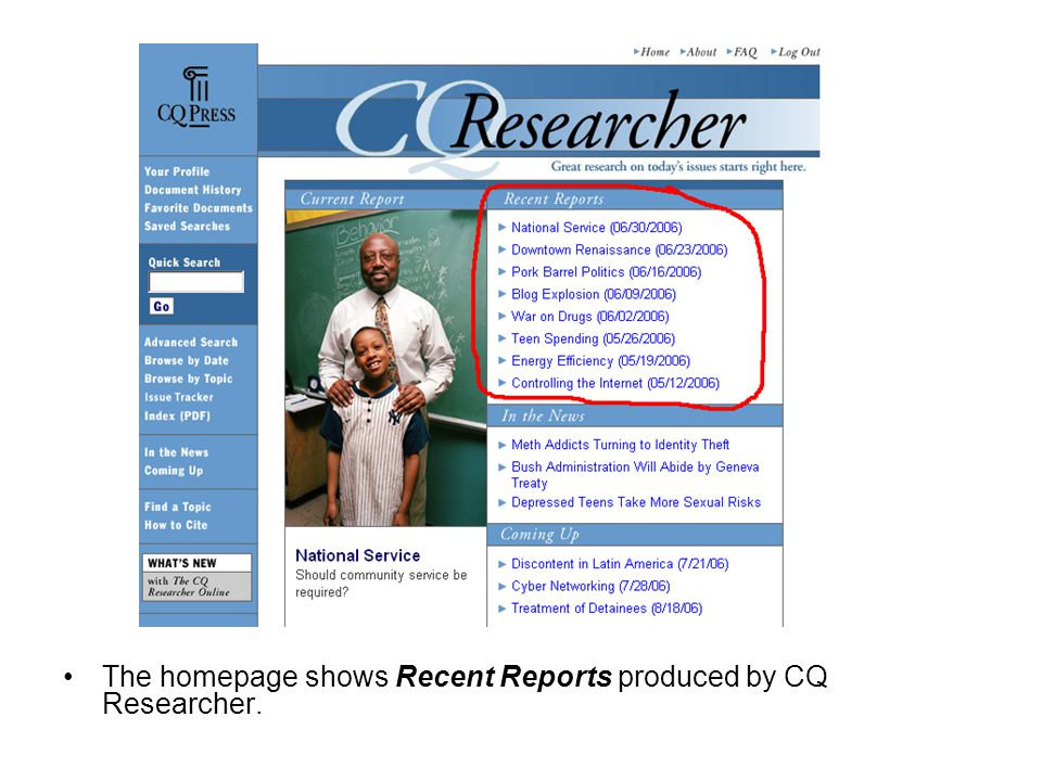 The homepage shows Recent Reports produced by CQ Researcher.
