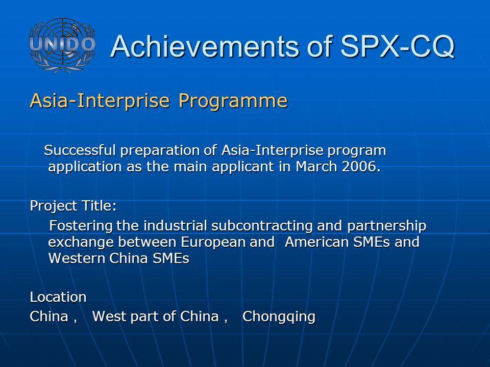 Achievements of SPX-CQ Achievements of SPX-CQ Asia-Interprise Programme Successful preparation of Asia-Interprise program application as the main applicant in March 2006.