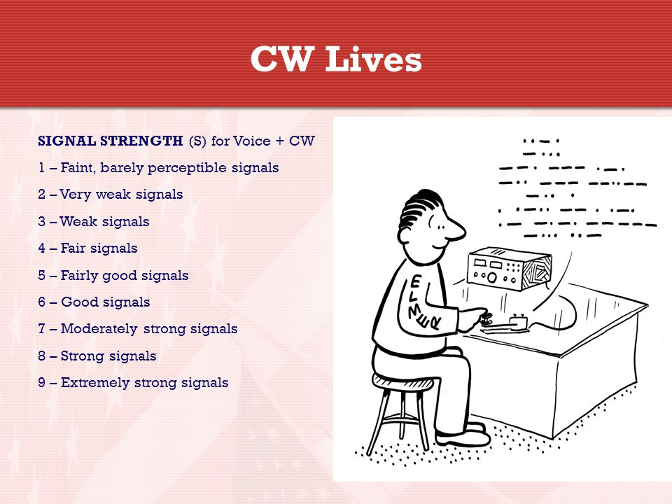 CW Lives SIGNAL STRENGTH (S) for Voice + CW 1 – Faint, barely perceptible signals 2 – Very weak signals 3 – Weak signals 4 – Fair signals 5 – Fairly good signals 6 – Good signals 7 – Moderately strong signals 8 – Strong signals 9 – Extremely strong signals