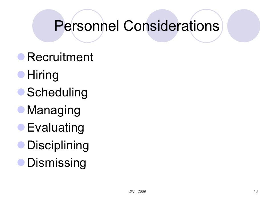 CWI 200913 Personnel Considerations Recruitment Hiring Scheduling Managing Evaluating Disciplining Dismissing