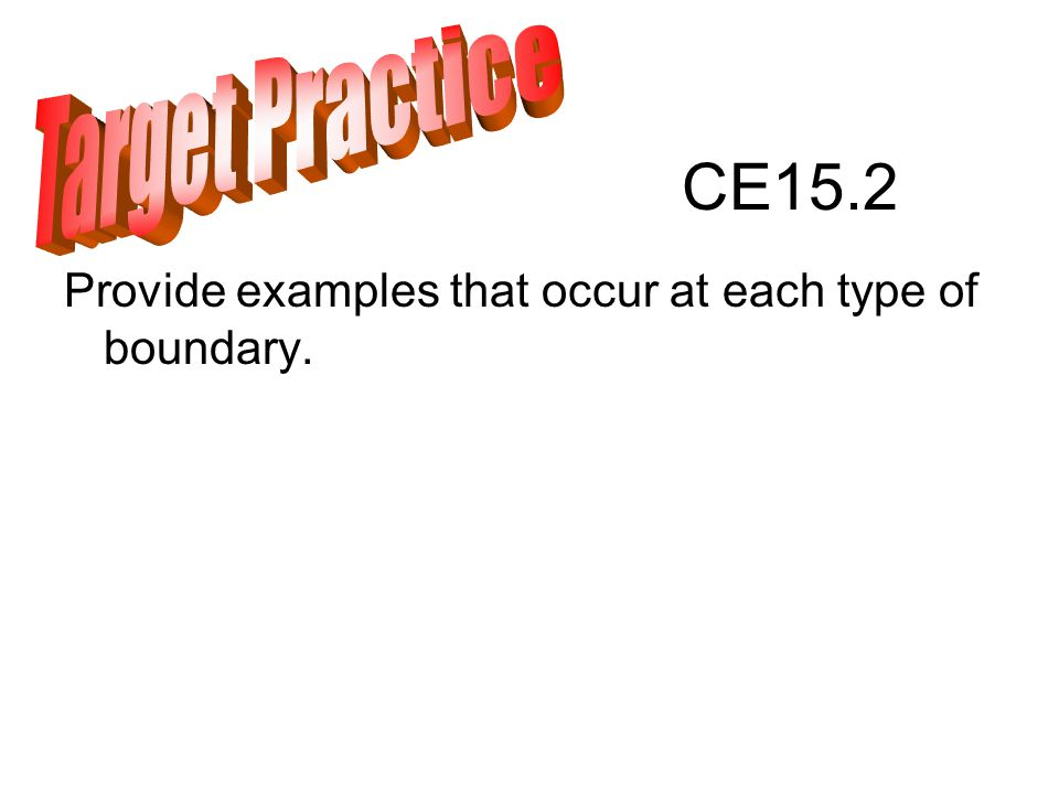 CE15.2 Provide examples that occur at each type of boundary.