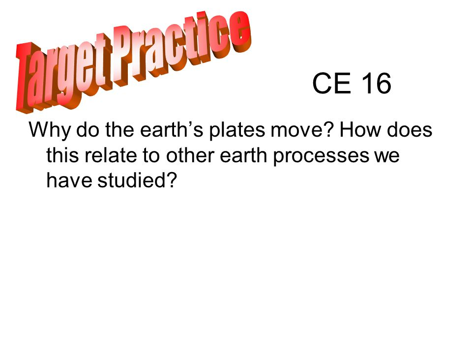 CE 16 Why do the earth's plates move.