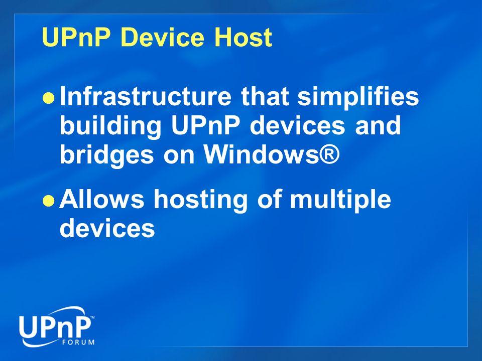 Control Point API COM interfaces for building UPnP control points  IUPnPDeviceFinder  IUPnPDevices  IUPnPDevice  IUPnPServices  IUPnPService