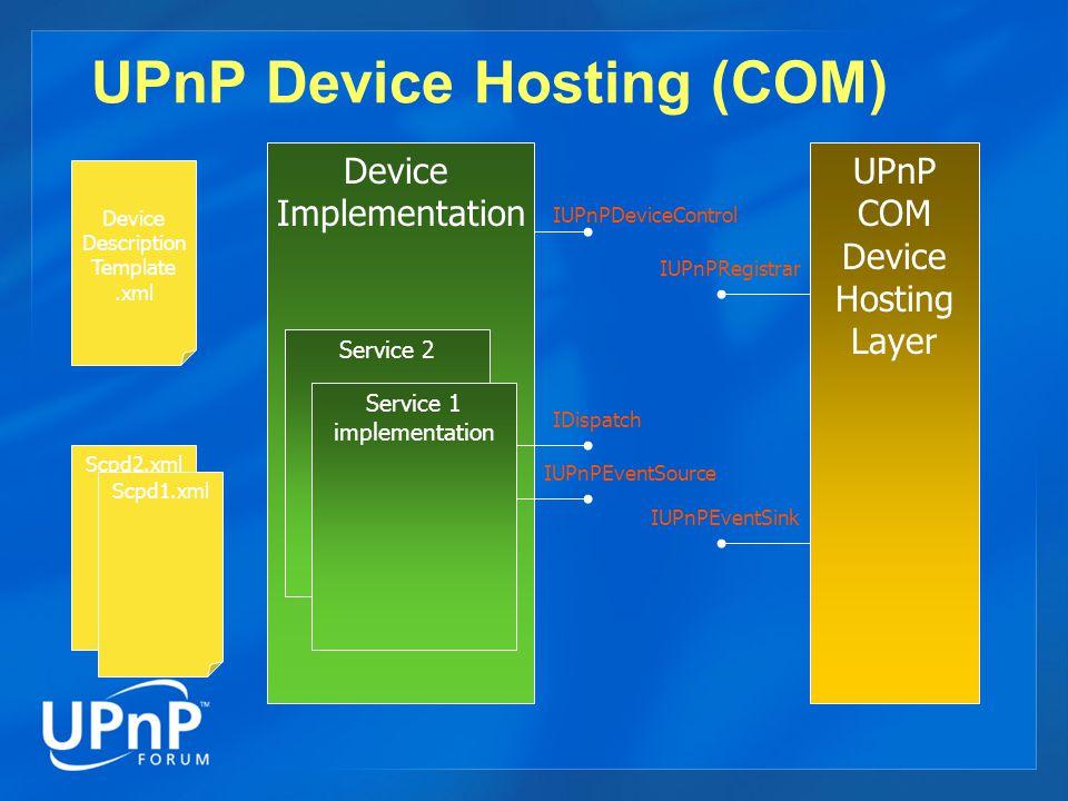 Device Implementation Service 2 UPnP Device Hosting (COM) Service 1 implementation IUPnPDeviceControl IDispatch Device Description Template.xml Scpd2.xml Scpd1.xml UPnP COM Device Hosting Layer IUPnPRegistrar IUPnPEventSink IUPnPEventSource
