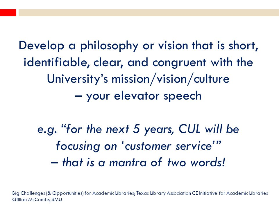 Develop a philosophy or vision that is short, identifiable, clear, and congruent with the University's mission/vision/culture – your elevator speech e.g.
