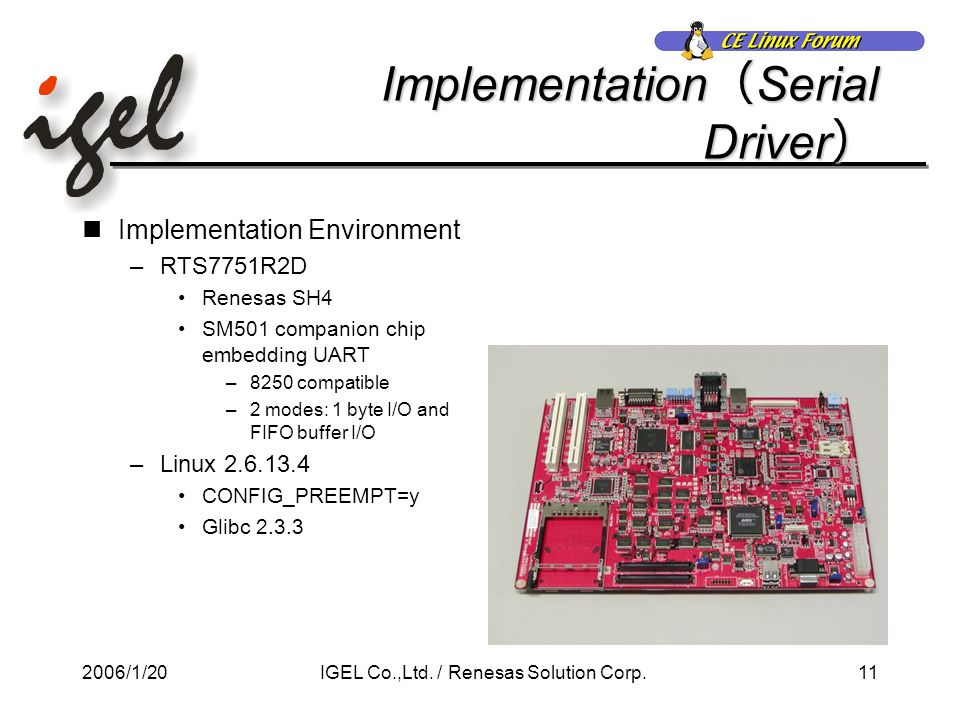 2006/1/2011IGEL Co.,Ltd. / Renesas Solution Corp. Implementation ( Serial Driver ) Implementation Environment –RTS7751R2D Renesas SH4 SM501 companion