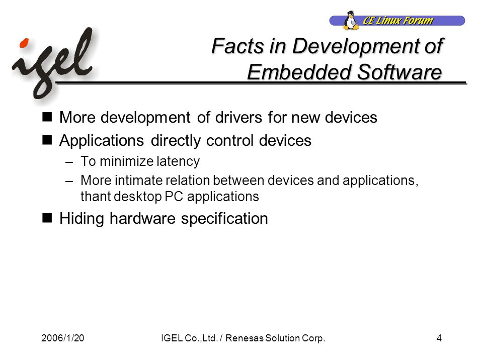 2006/1/204IGEL Co.,Ltd. / Renesas Solution Corp.