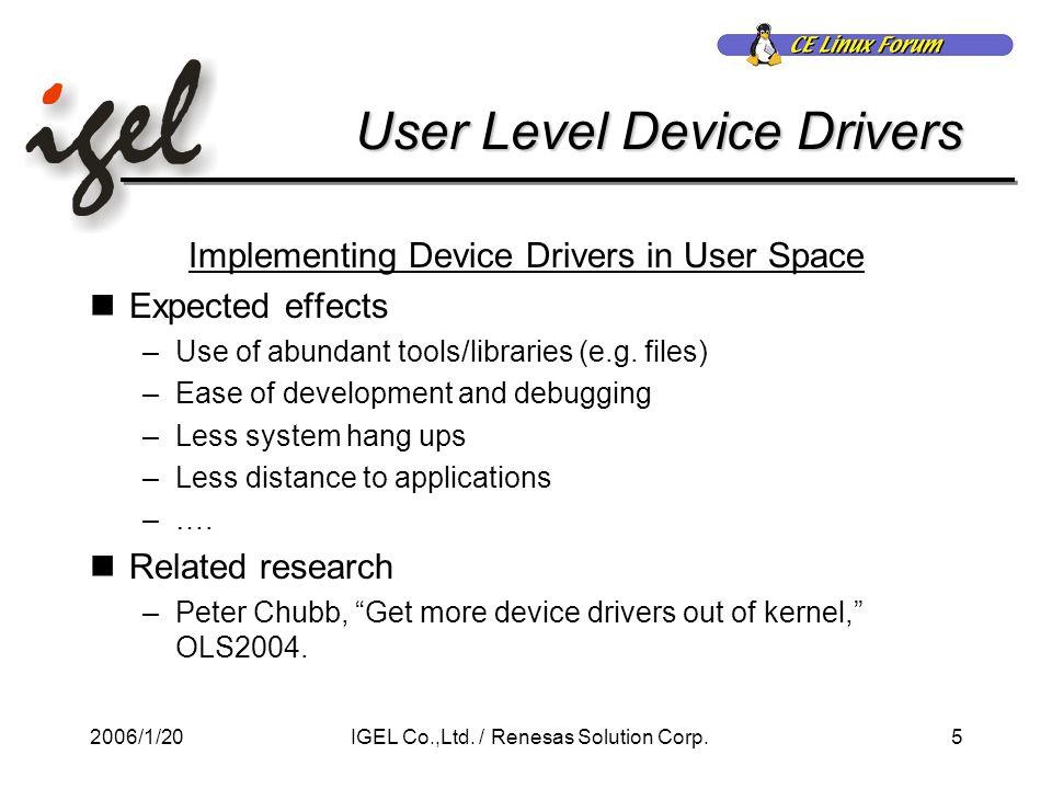2006/1/2016IGEL Co.,Ltd./ Renesas Solution Corp. UART Driver while (1) {....