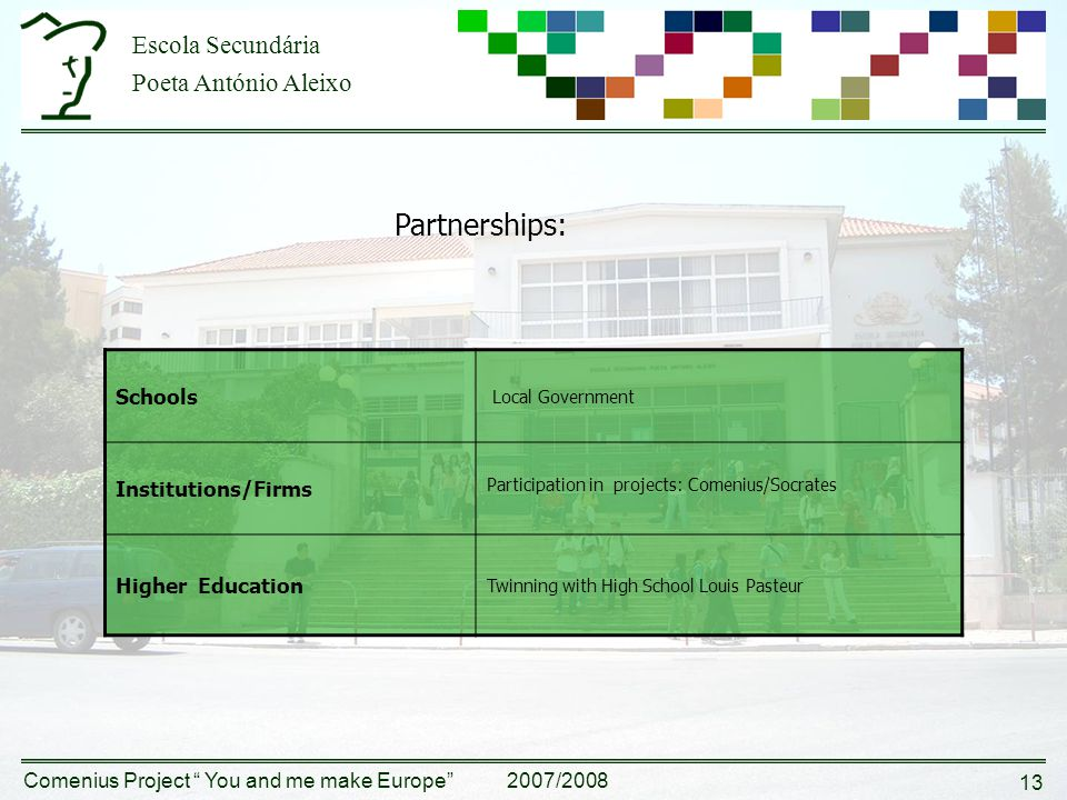 Escola Secundária Poeta António Aleixo Comenius Project You and me make Europe 2007/2008 13 Partnerships: Schools Local Government Institutions/Firms Participation in projects: Comenius/Socrates Higher Education Twinning with High School Louis Pasteur
