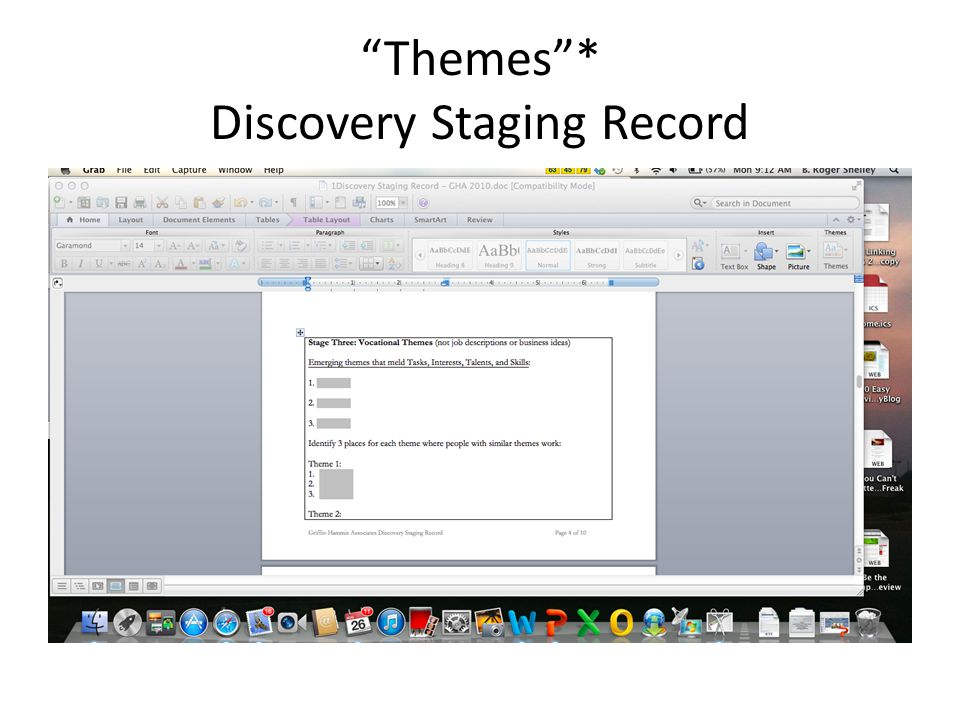 Themes * Discovery Staging Record