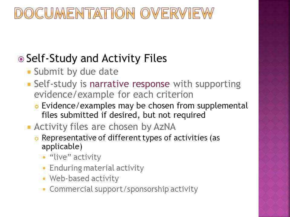  Self-Study and Activity Files  Submit by due date  Self-study is narrative response with supporting evidence/example for each criterion Evidence/e