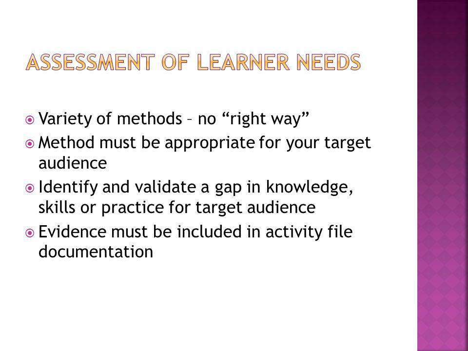 " Variety of methods – no ""right way""  Method must be appropriate for your target audience  Identify and validate a gap in knowledge, skills or prac"