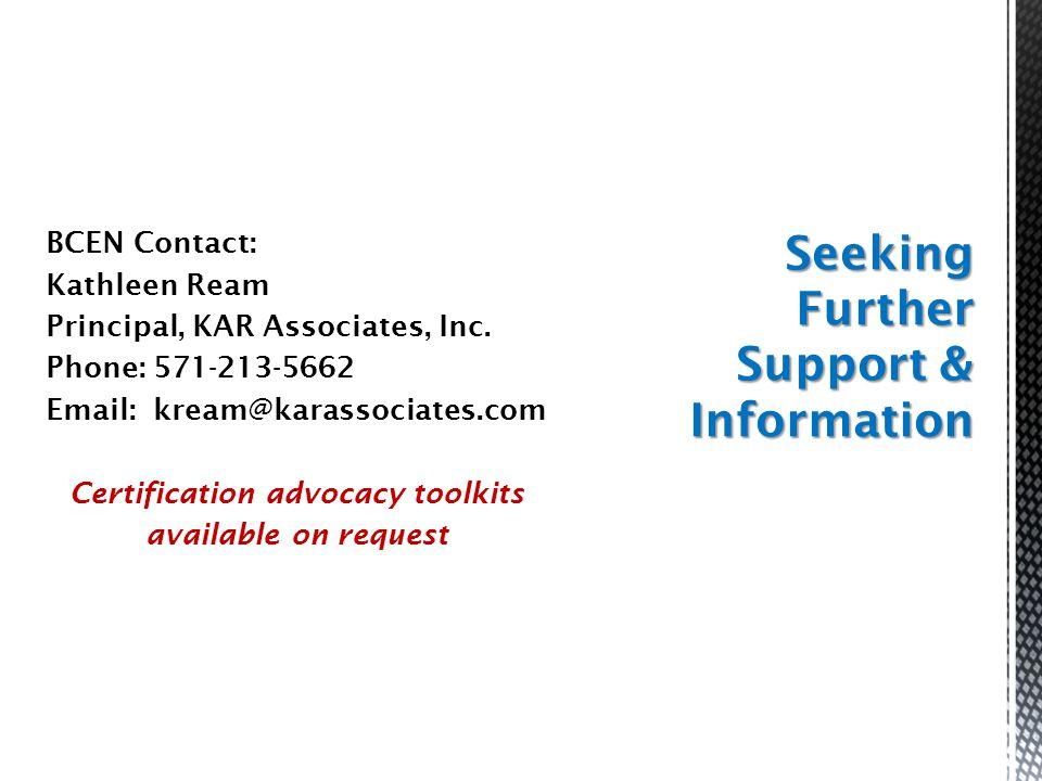 BCEN Contact: Kathleen Ream Principal, KAR Associates, Inc.