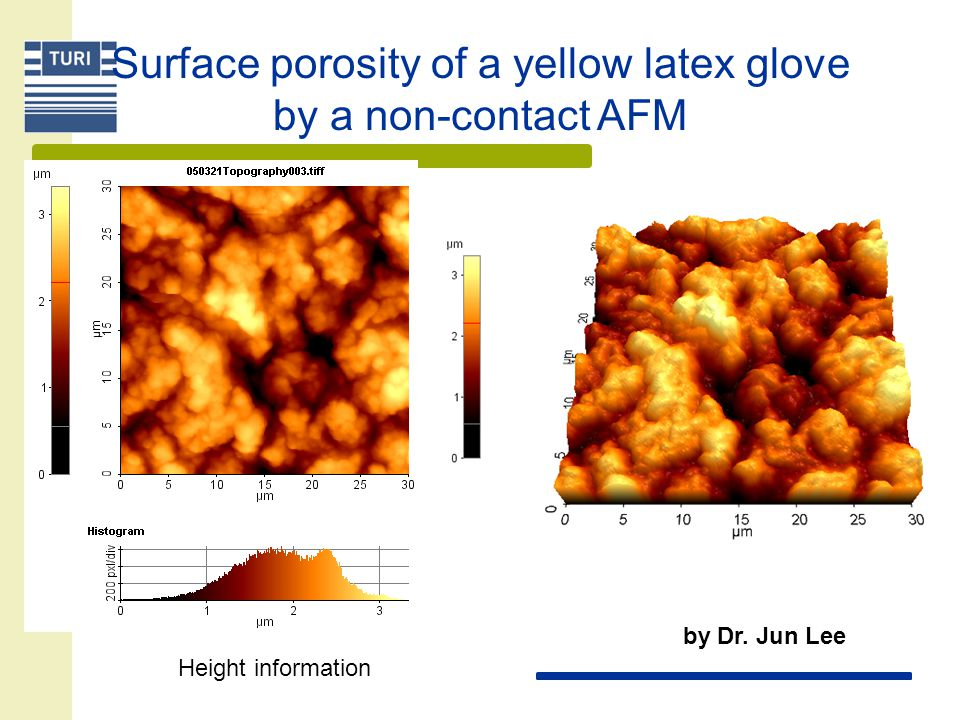 Surface porosity of a yellow latex glove by a non-contact AFM Height information by Dr. Jun Lee