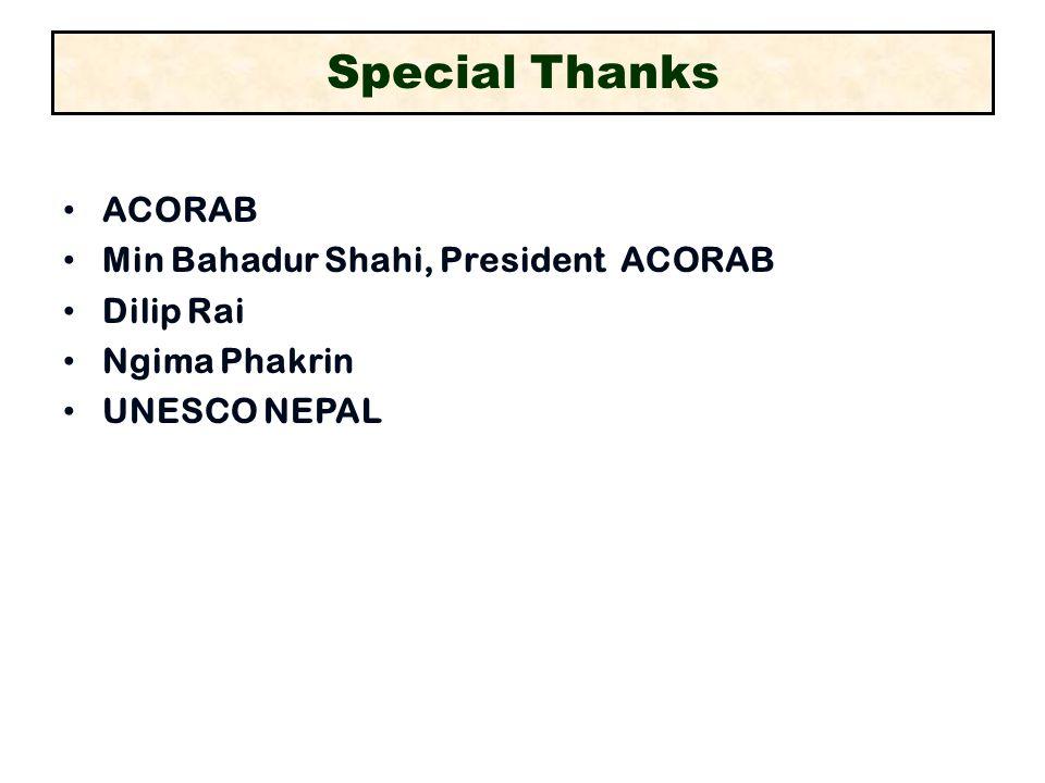 Special Thanks ACORAB Min Bahadur Shahi, President ACORAB Dilip Rai Ngima Phakrin UNESCO NEPAL