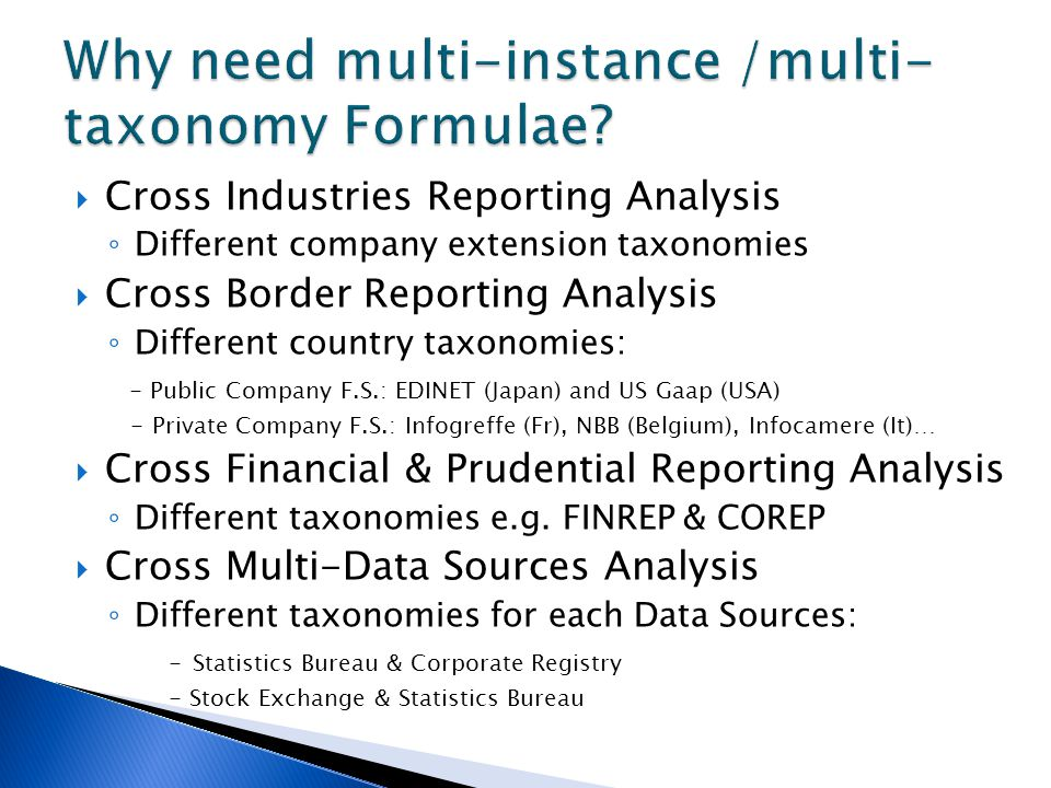  Cross Industries Reporting Analysis ◦ Different company extension taxonomies  Cross Border Reporting Analysis ◦ Different country taxonomies: - Pub