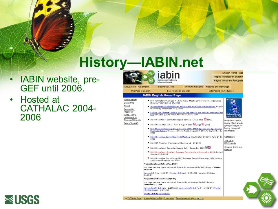 History—IABIN.net IABIN website, pre- GEF until 2006. Hosted at CATHALAC 2004- 2006
