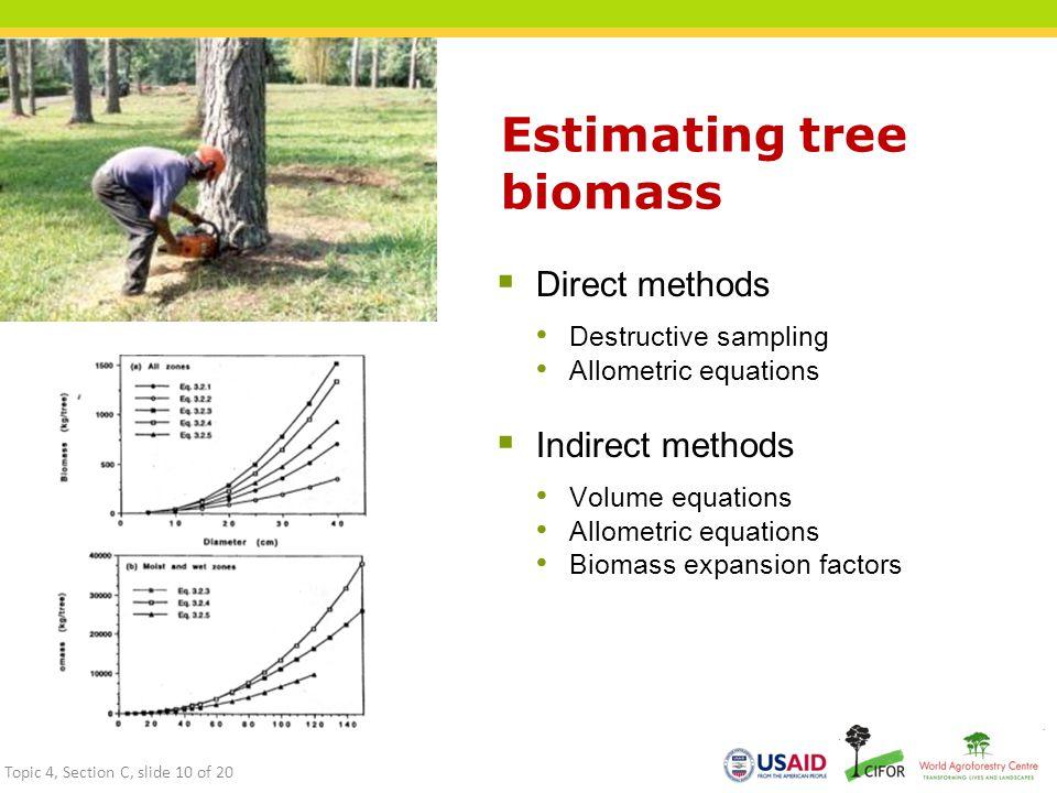 Estimating tree biomass  Direct methods Destructive sampling Allometric equations  Indirect methods Volume equations Allometric equations Biomass expansion factors Topic 4, Section C, slide 10 of 20