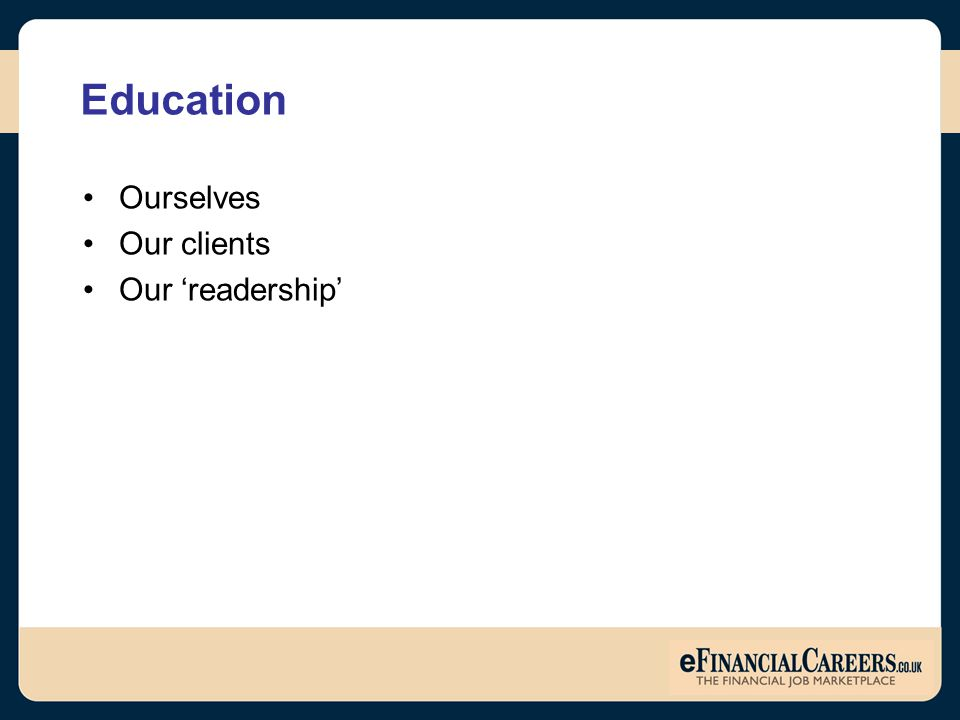 Education Ourselves Our clients Our 'readership'