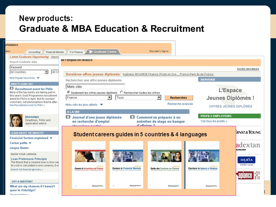 New products: Graduate & MBA Education & Recruitment Student careers guides in 5 countries & 4 languages