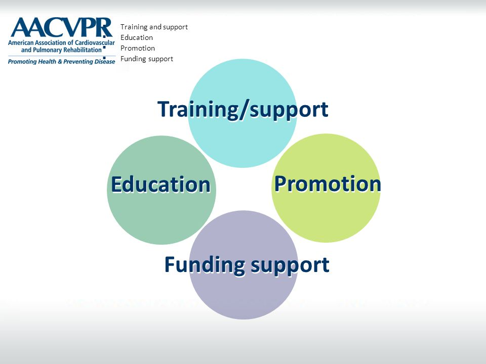  Training and support  Education  Promotion  Funding support Training/support Funding support Promotion Education