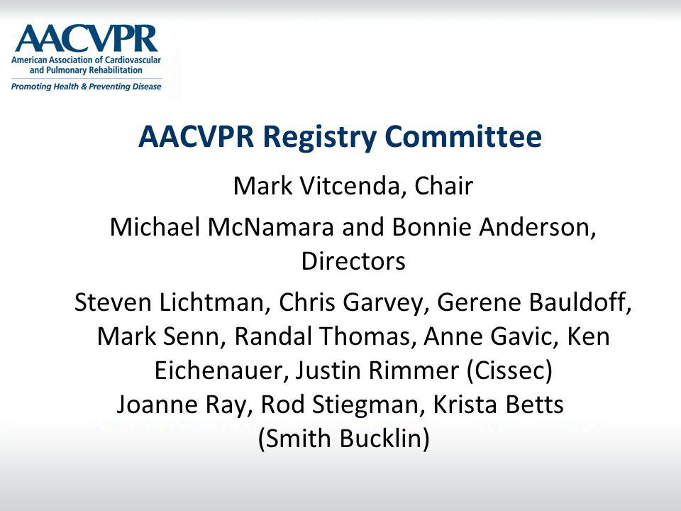 AACVPR Registry Committee Mark Vitcenda, Chair Michael McNamara and Bonnie Anderson, Directors Steven Lichtman, Chris Garvey, Gerene Bauldoff, Mark Se