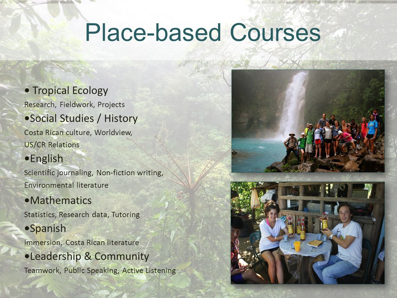 Tropical Ecology Marine Ecosystems Watershed Studies Research Field work Projects