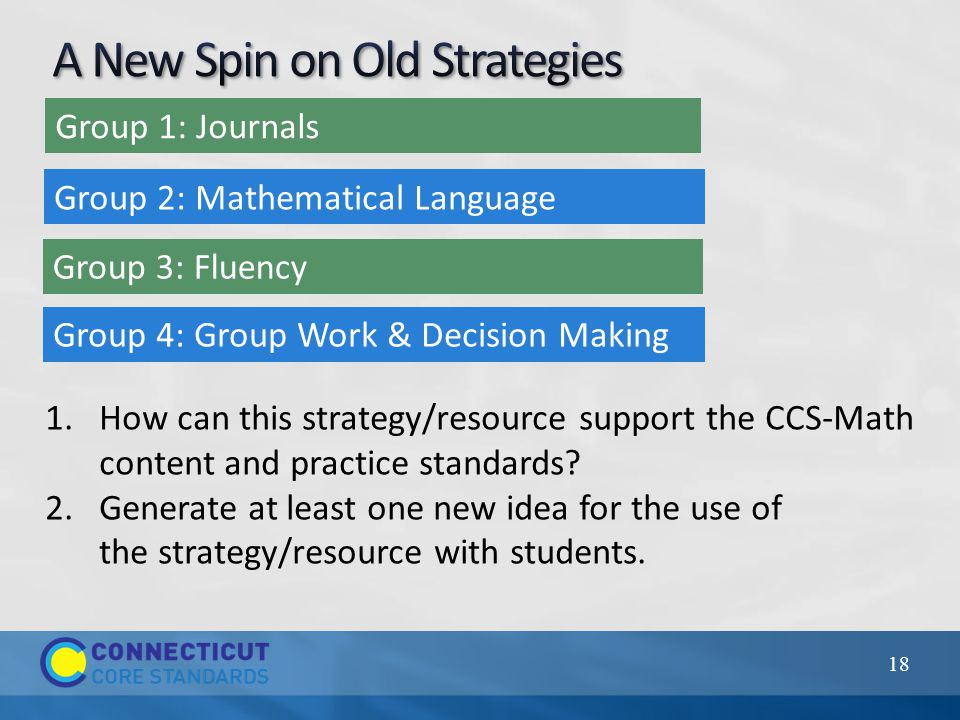 18 Group 1: Journals Group 2: Mathematical Language Group 3: Fluency Group 4: Group Work & Decision Making 1.How can this strategy/resource support the CCS-Math content and practice standards.