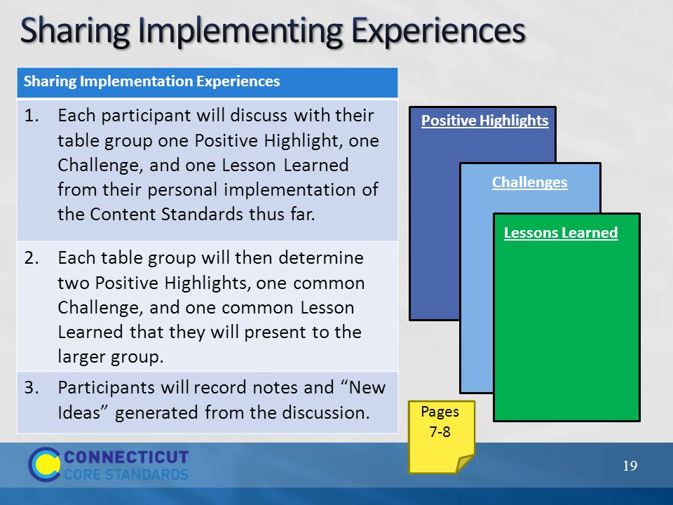 19 Sharing Implementation Experiences 1.Each participant will discuss with their table group one Positive Highlight, one Challenge, and one Lesson Learned from their personal implementation of the Content Standards thus far.