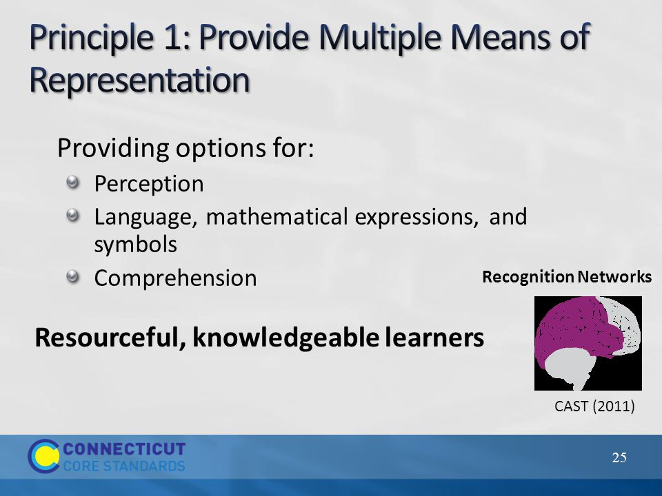 25 CAST (2011) Providing options for: Perception Language, mathematical expressions, and symbols Comprehension Resourceful, knowledgeable learners Recognition Networks