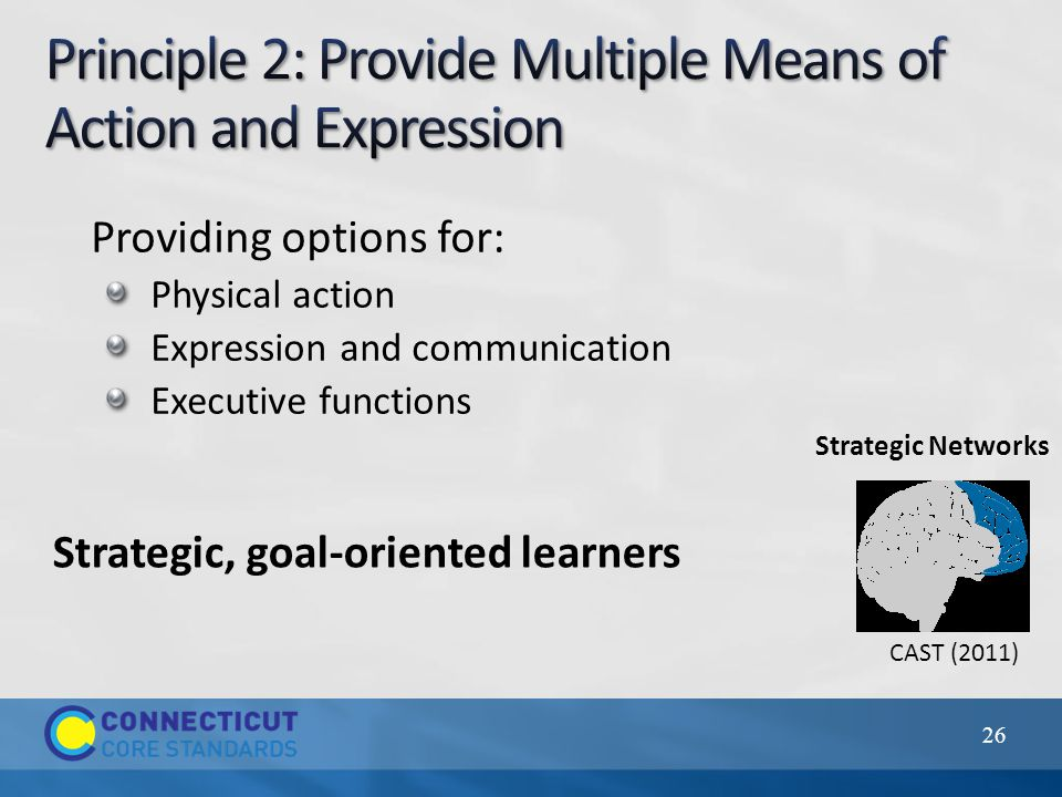 26 CAST (2011) Providing options for: Physical action Expression and communication Executive functions Strategic, goal-oriented learners Strategic Networks